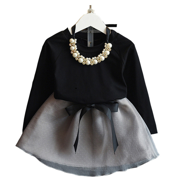 fb7c50e74e49 Baby Girls Dress Suit New Arrival Spring   Autumn Girls Clothes Black Full  Length Top+Grey Mini Skirt Suit Good Gift 3-7 Years