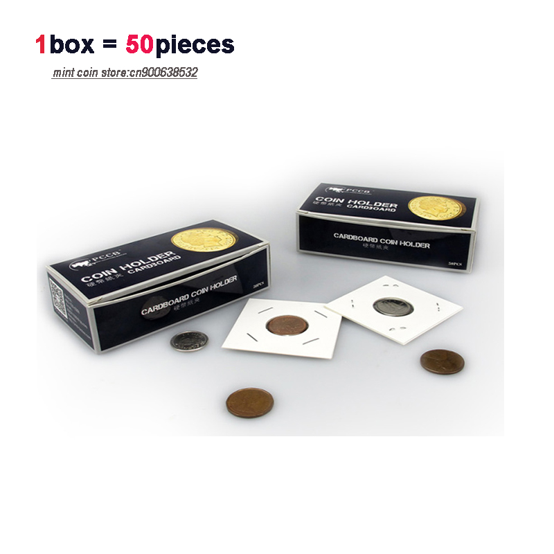 LOT X 50boxes Total 2500pcs V1 0 PCCB Cardboard COIN HOLDER Paper Card collection 12 different