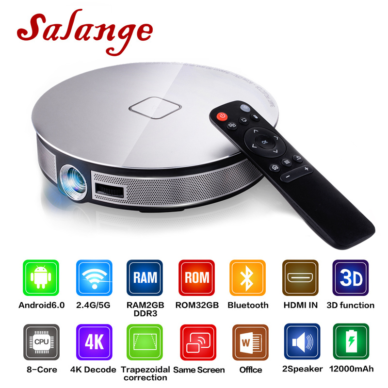 Salange D8S Portable Projector 2G+32G 1280*720 Resolution Built-In Android 6.0 3D Dual WIFI 12000mAh Battery Beamer Proyector 1