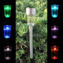 Solar Powered Stainless Steel LED Pathway Lawn Light Lamp Sun Power 33SK   Solar garden lamp