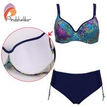 Andzhelika Plus Size Swimwear 2018 New Sexy Bikinis Women Swimwear Print Retro Female Bikini Set Beach Bathing Suit Swim Wear