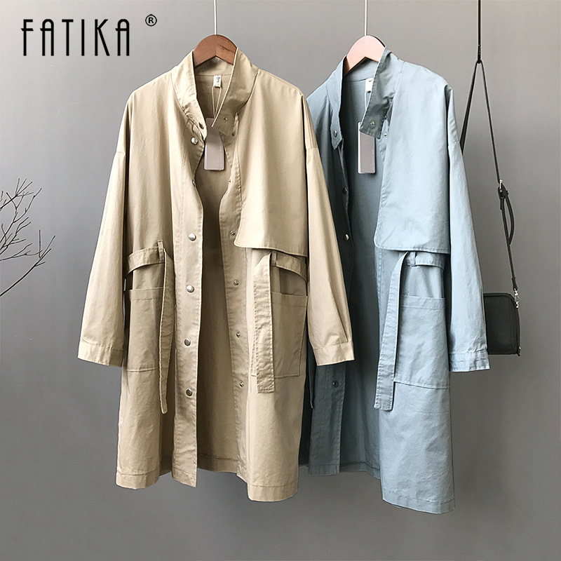 FATIKA Women Classic Solid Stand Collar   Trench   With Sashes Women 2019 Spring Autumn Casual Pockets Outerwear