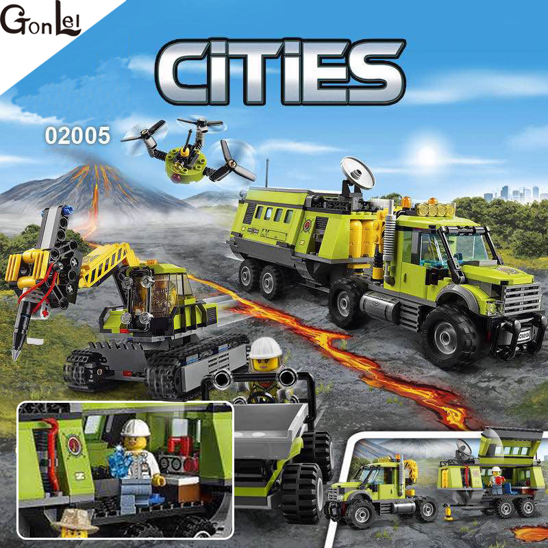 (GonLeI) 02005 889Pcs City Series Volcano Exploration Base Building Blocks Compatible 60124 lepin 02005 volcano exploration base building bricks toys for children game model car gift compatible with decool 60124