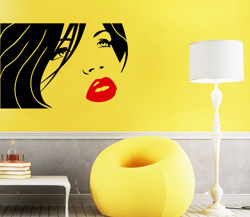 Wall Decal Beauty Salon Spa Decals Girl Face Lips Hair Art Decor ...