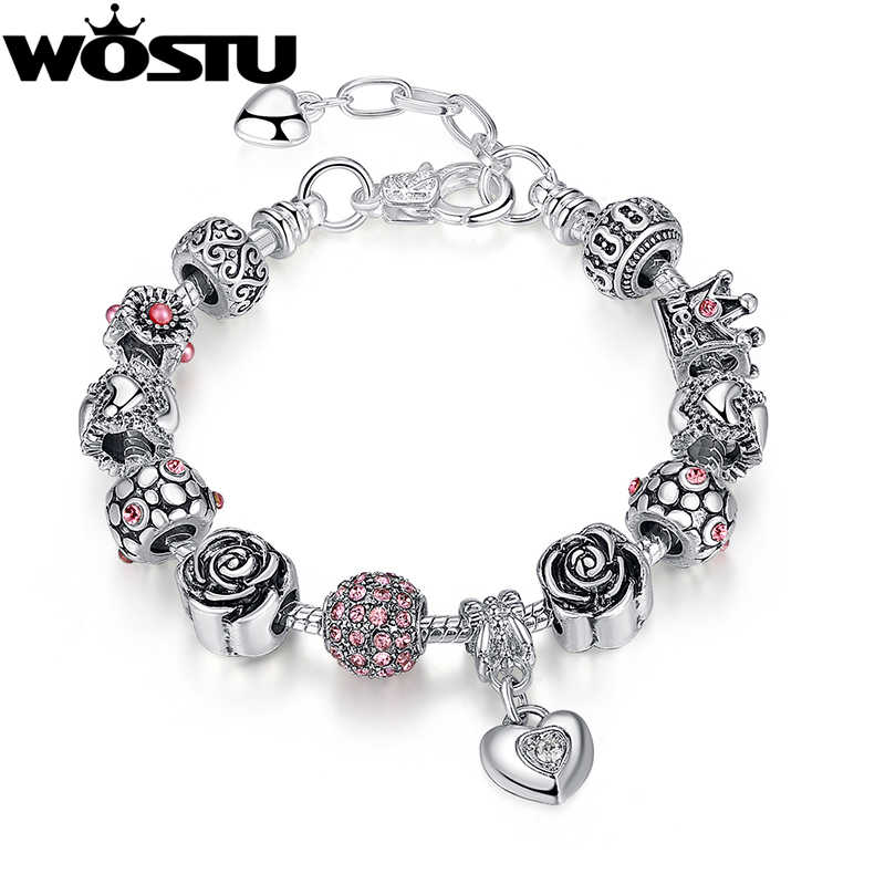 WOSTU Top Quality 925 Silver Charm Bead Fit Original Bracelets for Women European Style Jewelry Christmas Gift FB1468