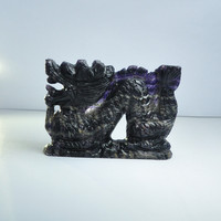 Spot wholesale exquisite carved fluorite twelve zodiac dragon gemstone crystal ornaments adorned with Chinese style