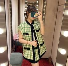 2019 Spring  autumn sleeves plaid tweed jackets Chic women's tweed coat A223 drop shoulder plaid tweed plus size coat