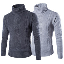 Hombres suéter pullover sólido Slim Fit moda punto Hedging suéteres cuello  alto sueter hombre invierno hombres 2f714c4de041