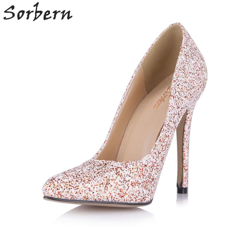 e3e3c7300442 Sorbern Shiny Glitter Party Pumps Shoe Women Size 41 Heels Runway 2018  Glitter Shoes Heels Pink Stiletto Plus Size Ladies Shoes