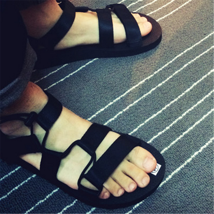 2017 Summer New Elastic Band Mens Beach Sandals New Design High Quality Flat Comfortable Men Casual Shoes Light Black Shoes