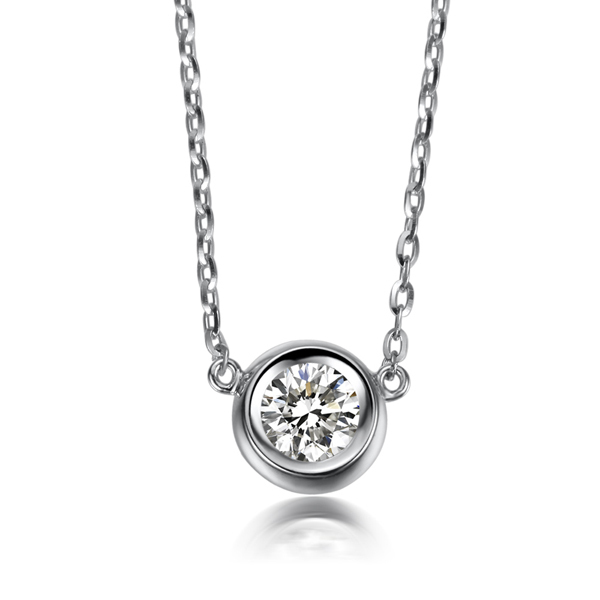 ZOCAI  0.4 CT CERTIFIED H/SI DIAMOND SOLID 18K WHITE GOLD PENDANT PENDANTS  + 925 STERLING SILVER CHAIN 4 NECKLACE