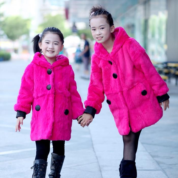 Новинка зимы Модные ботильоны с отделкой из кроличьего меха, пальто, для детей Детское пальто с капюшоном с заячьими 100% мех кролика Рекс, сте