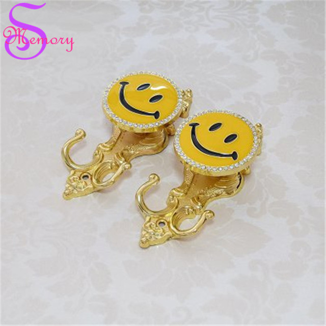Smile Rhinestones Wall Hooks Curtain Tie Back Ball Tieback Holders ...