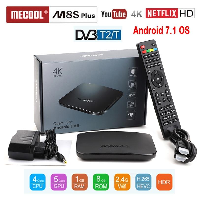 Boîtier TV MECOOL compatible DVB T2 DVB T Android boîtier TV Amlogic S905D Quad Core 1GB 8GB 1080p HDR10 4K Youtube Netflix M8S PLUS DVB