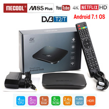 лучшая цена MECOOL TV BOX SUPPORT DVB T2 DVB T Android TV Box Amlogic S905D Quad Core 1GB 8GB 1080p HDR10 4K Youtube Netflix M8S PLUS DVB