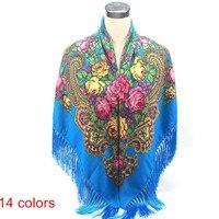 Fashion Autumn And Winter Peony Flower Russia Big Size Square Scarf Soft Warm Charm Tassel Scarf