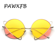 Pop Age 2018 New Double color Round Sunglasses Women Men Brand Designer High quality Sun Glasses Eyeglasses Lentes de sol Shades