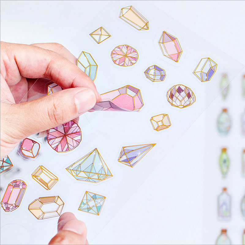 2pcs/ lots DIY pvc Sparkling diamond sugar sticker scrapbooking diary kawaii stationery  Album Decoration Sticker Free shipping