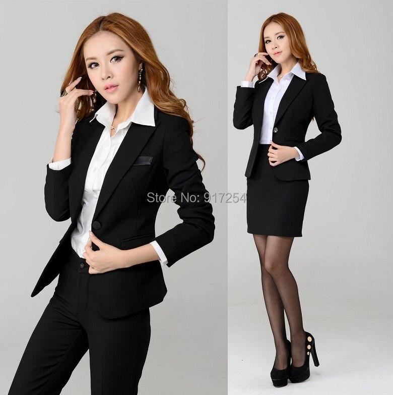 Formal elegante negro otoño invierno profesional trajes de negocios  uniformes diseño para para mujer de la oficina ropa del desgaste del trabajo  en Trajes ... 3b2b32d6e324