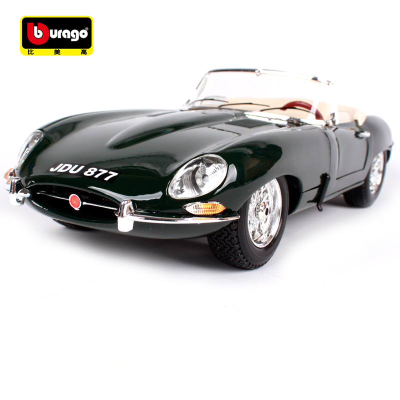 Bburago 1:18 jaguar e type cabriolet dark green car diecast 255*95*67mm classic car model old version for collecting 12046 стоимость
