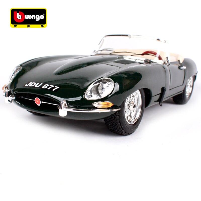Bburago 1:18 jaguar e type cabriolet voiture vert foncé moulé sous pression 255*95*67mm modèle de voiture classique ancienne version pour la collecte 12046