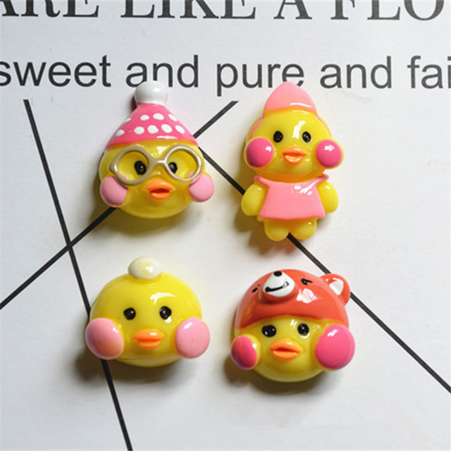 2PC Small Cute Funny Duck For Slime DIY Fluffy Clay Kids Toy Pretend Play Doll House Decoration