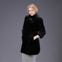 2018 new real mink fur fox fur coat jacket high aquality black solid women natural fur coat thick warm street style