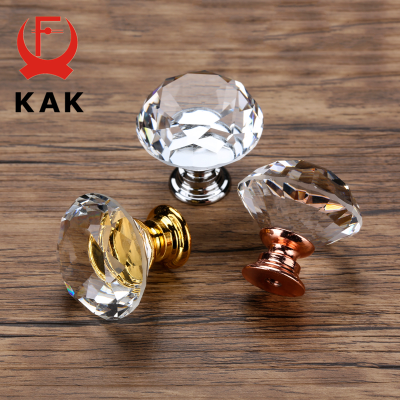 KAK 20-40mm Diamond Shape Design Crystal Glass Knobs Cupboard Drawer Pull Kitchen Cabinet Door Wardrobe Handles Hardware 2