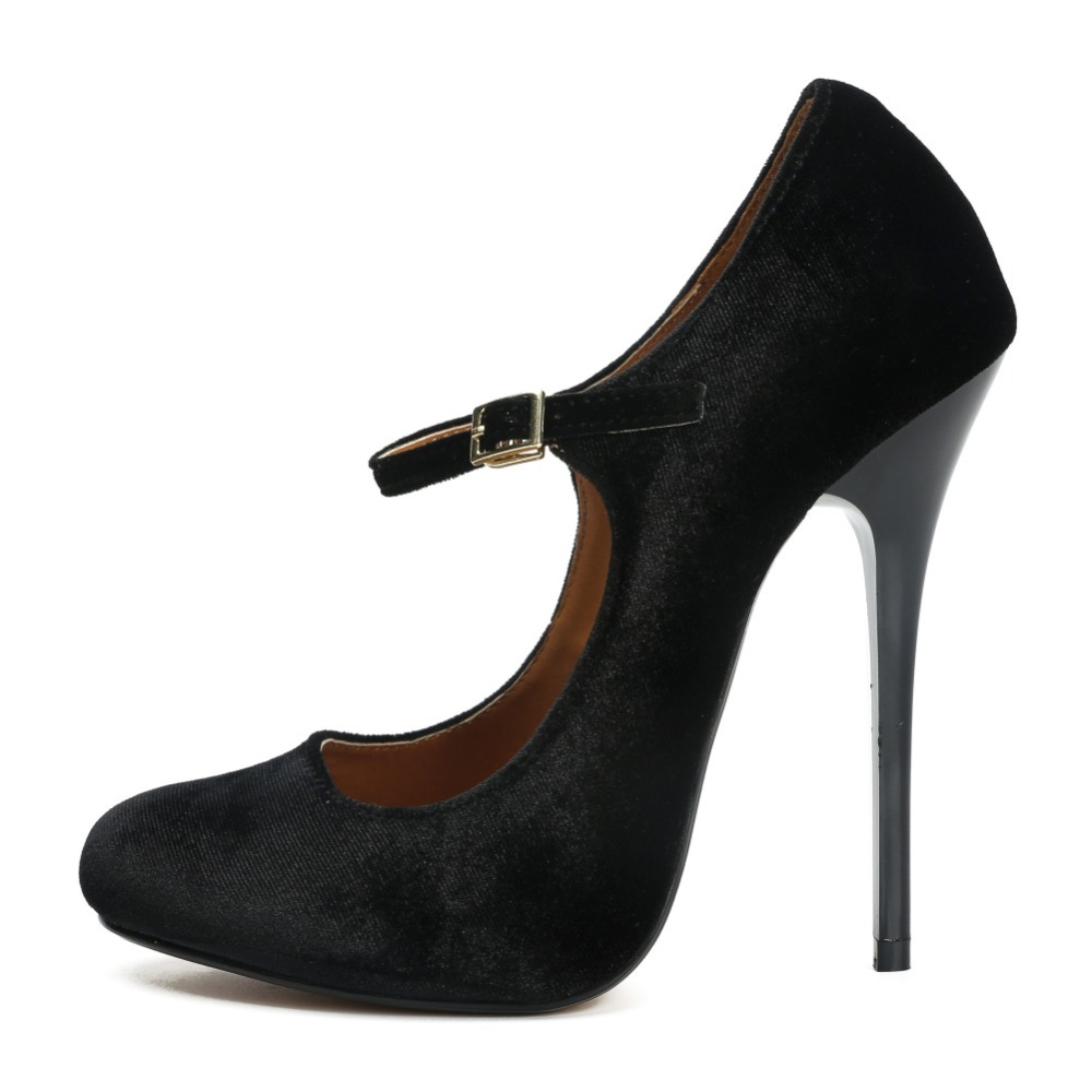 Plus Size 46 Round Toe Sexy 13cm High Heels Ankle Straps Women Pumps Quality Velvet Office