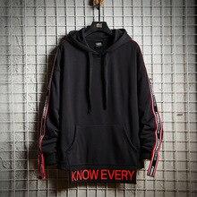 Harajuku Patchwork Letter Print Hoodied Men Causal Hip Hop Pullover Male Loose Streetwear Hoodies Black Red 3XL Sweatshirts Mens