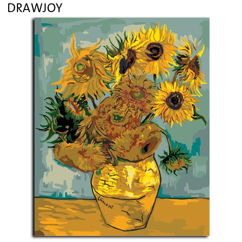 DRAWJOY Van Gogh Girasole Pittura By Numbers Immagine Senza Telaio Tela FAI DA TE Pittura A Olio Home Decor Per Soggiorno G234 40*50 cm