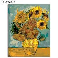 Drawjoy Ван Гог подсолнечника живопись по номерам Безрамное Картина DIY холст масло домашнего декора для Гостиная G234 40*50 см