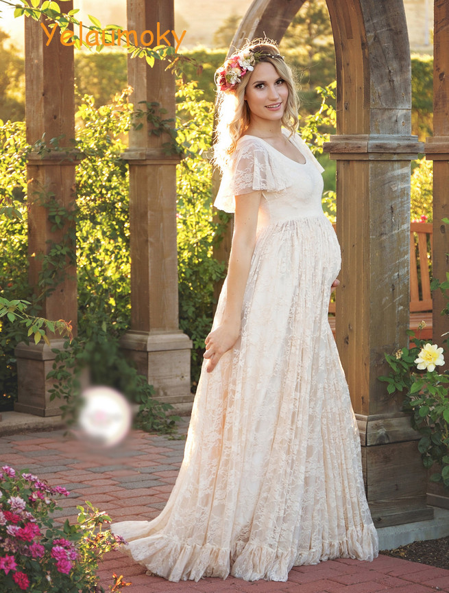 pregnancy lace summer dress maternity photography props long lace dress pregnancy clothes maternity clothes garments[Yelaumoky]