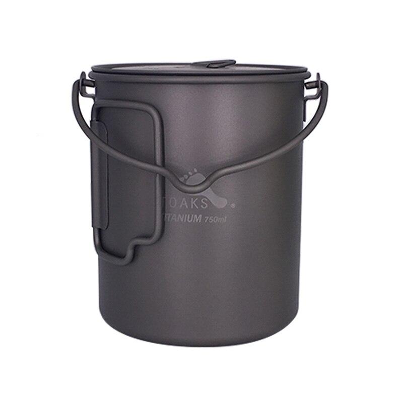 TOAKS 750ml Cookware Set Ultralight Titanium Pot Frying Pan Outdoor Camping Titanium Bowl Titanium Cup Picnic