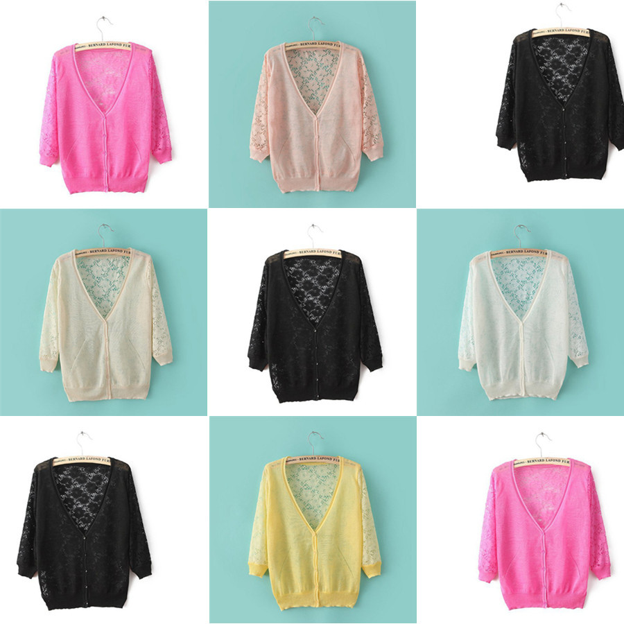 Aliexpress.com : Buy Loose Summer New Thin Lace Knitted Cardigans ...