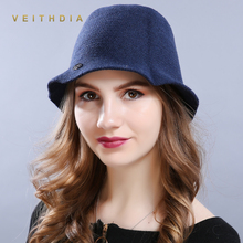 VEITHDIA New Wool Hat Foldable Cap Women Winter Thick wool caps Knit Fishing outdoor women Bucket Hats Free shipping sale 2