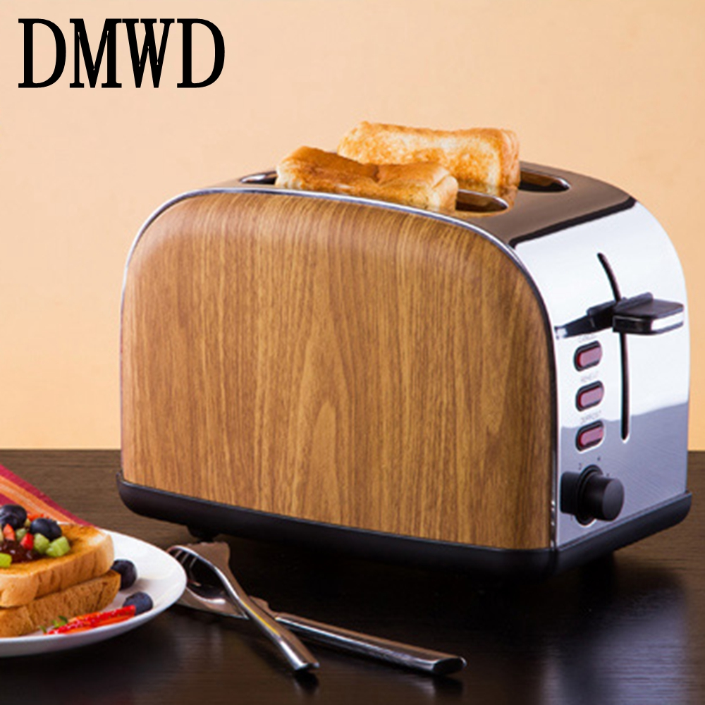 DMWD Toaster British retro grain stainless steel liner Household automatic bread baking Breakfast maker Heating oven 220-240V cukyi toaster italian technology breakfast machine household automatic single double sides baking stainless steel liner retro