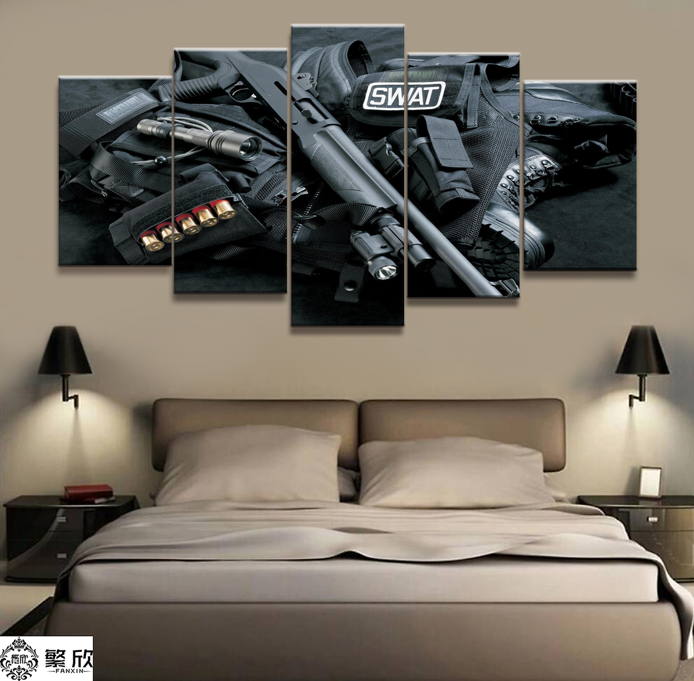 5 Pieces Weapon of War Ornament Poster Modern Wall Art Decorative Modular Framework Picture Canvas HD Printed One Set Painting