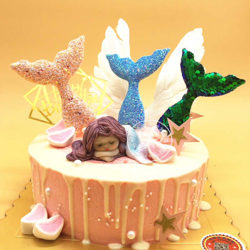 Groovy Resin Sleeping Beauty Mermaid Feather Angle Wing Cake Decoration Personalised Birthday Cards Paralily Jamesorg
