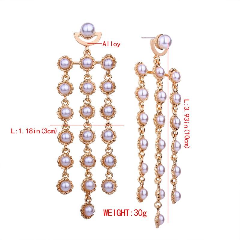 Lalynnly Gold Imitation Pearl Earrings Long Dangle Korean Fashion Earrings For Women Drop Chain Earrings 2018 Wholesale E18621