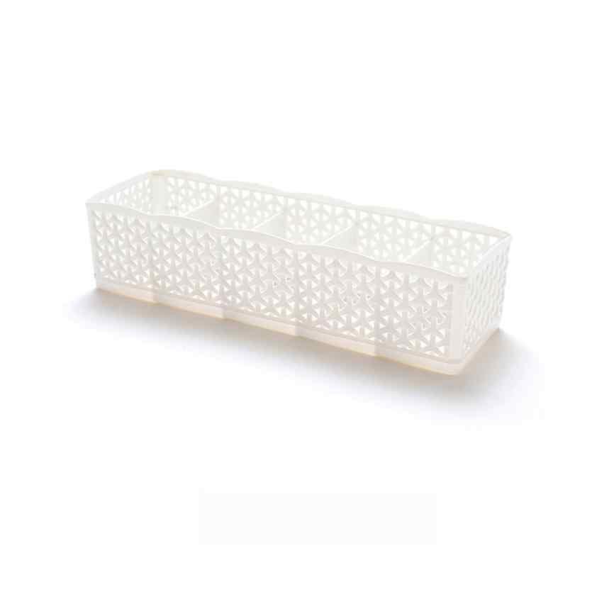 DIVV 5 Cells Plastic Organizer Storage Box Tie Bra Socks Drawer Cosmetic Divider July30