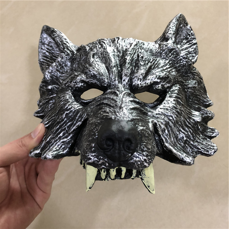 Halloween Cosplay Mask Prop Fierce Beast Tooth Silver Wolf 1:1 PU Weapon Movie Game Anime Cos Kids Role Play Gift Safety PU