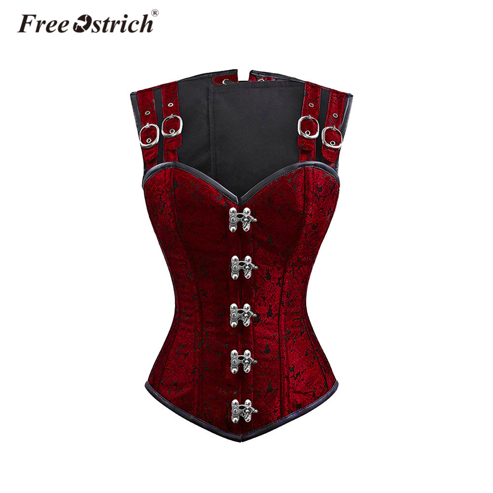 Free Ostrich Clearance black weight loss lace waist tummy body shaper corstes steel boned corset shaper for women tight K1430