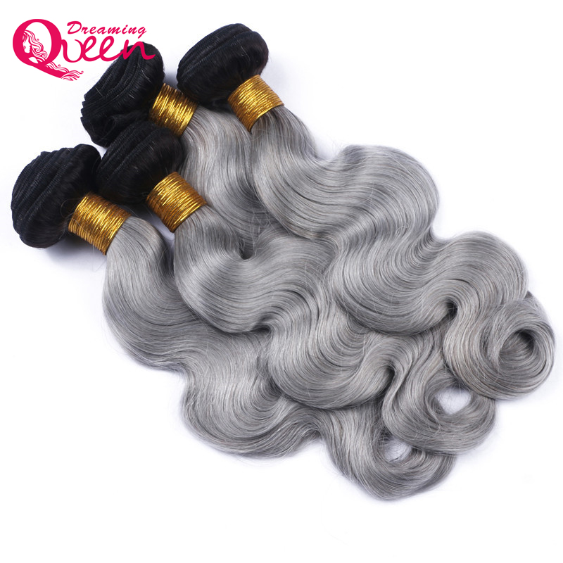 Dreaming Queen Hair Body Wave 1B Grey Ombre Brazilian No Remy Human Hair Weave Gray Color