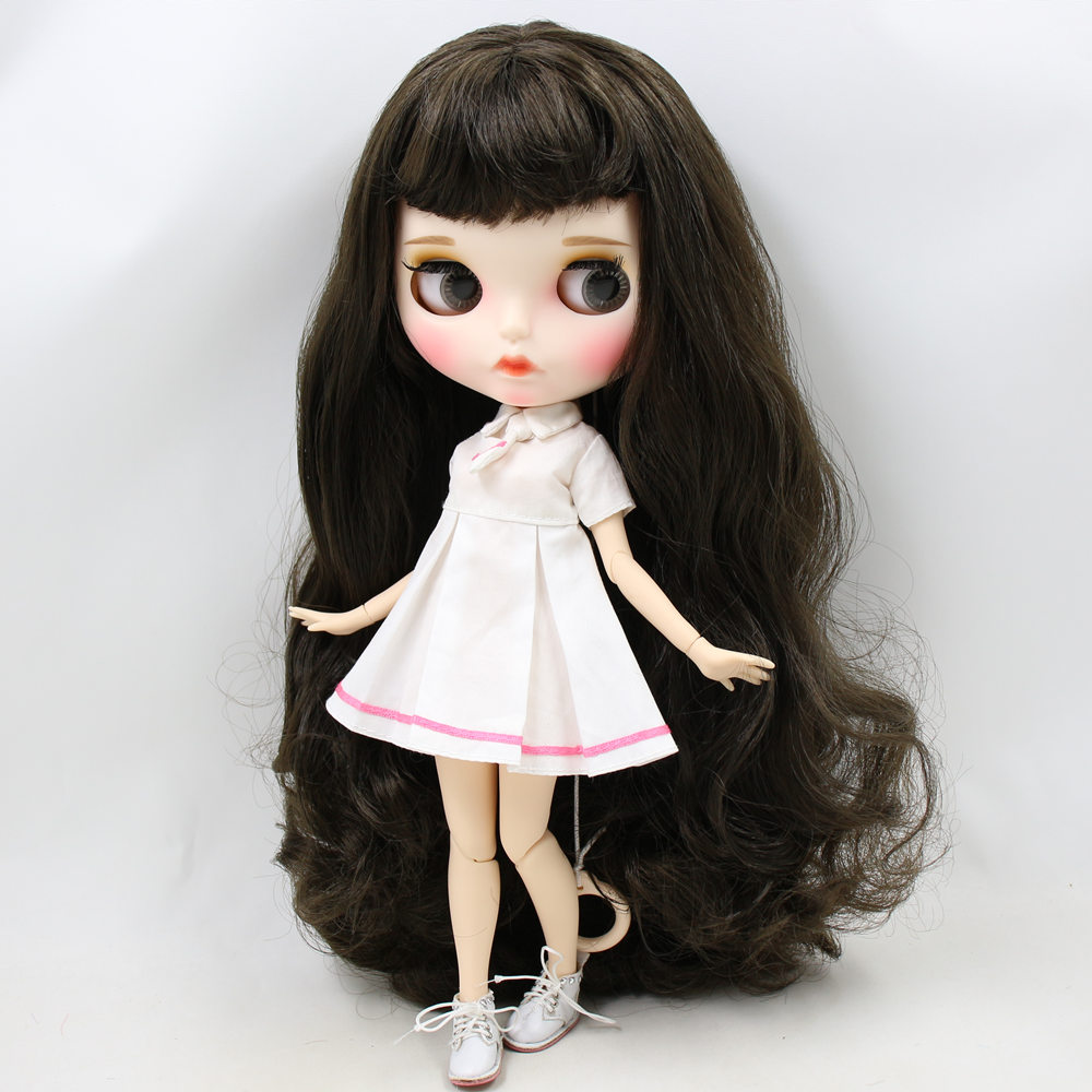 ICY Nude Blyth Doll No BL950 Black hair Carved lips Matte customized face with eyebrow Joint