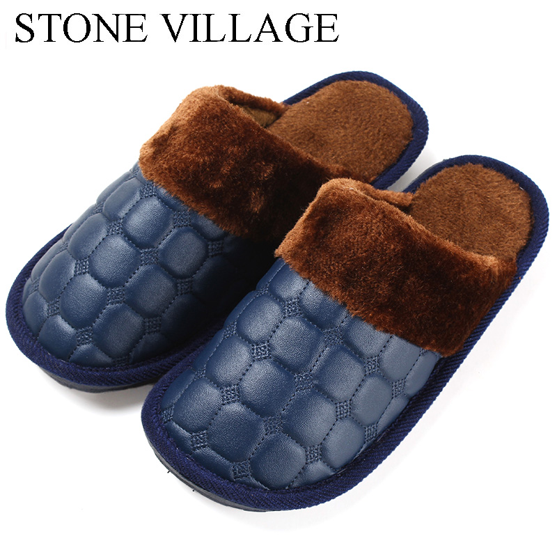 STONE VILLAGE Winter Leather Slippers For Lovers men Women slippers Warm Plush Indoor Flats Shoes Men Non-slip Floor Shoes fghgf shoes men s slippers mak