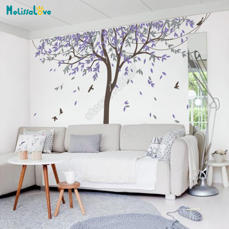 Saule pleureur bricolage grand arbre autocollants oiseau enfant chambre papier peint bébé chambre autocollant pépinière vinyle Sticker mural B920