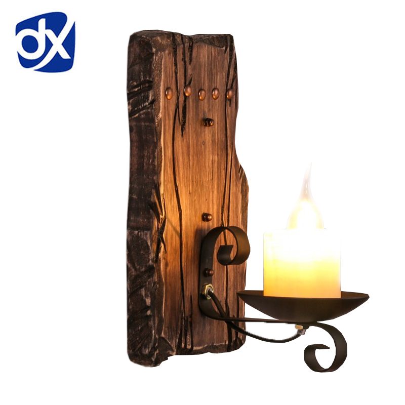 Hot Retro Industrial Wall Lamp Old Boat Wood American Country Nostalgia candle Wall Light For Bar Cafe Store Free Shipping zakka do the old vintage american country three blackboard bar display clothing racks cafe wood craft