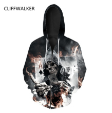 Dropshiping 3D Skull Poker Hoodies Casual Harajuku Hooded Coat For Women Men Zipper Jacket Sweatshirt Tops Clothing Outerwear