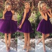 Бесплатная доставка, Красивое фиолетовое платье с лямкой на шее, с вырезом на спине, с бисером, короткие платья для выпускного вечера, vestido de